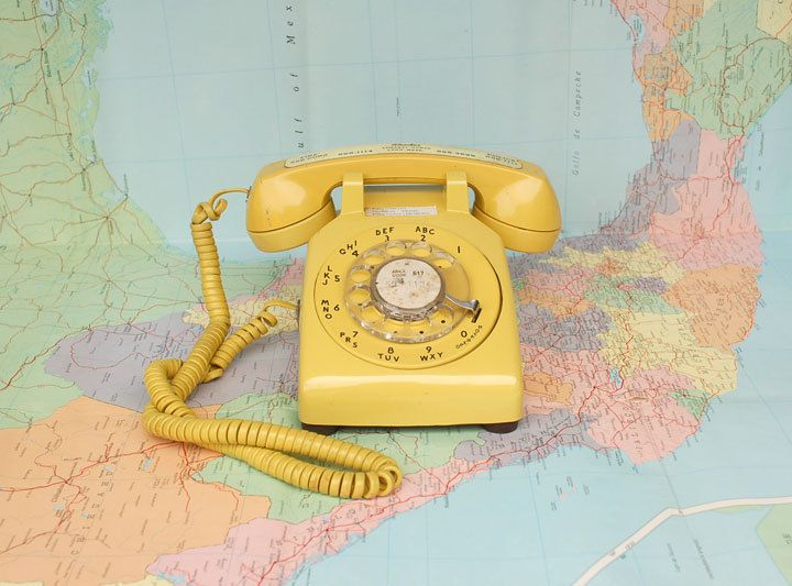 Yellow Vintage Rotary Phone by alivingspace on Etsy (With
