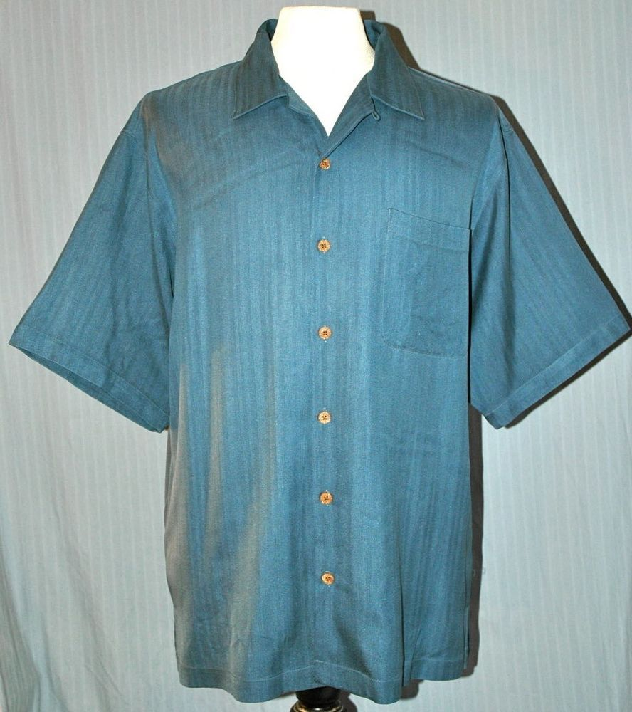 Tommy Bahama Adult Medium Aqua Blue Green 100 Silk Shirt
