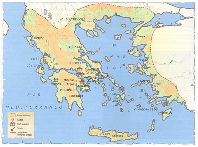 Mapa Mudo Grecia Antigua.Mapa Cultura Griega Cultura Griega Grecia Clasica Y