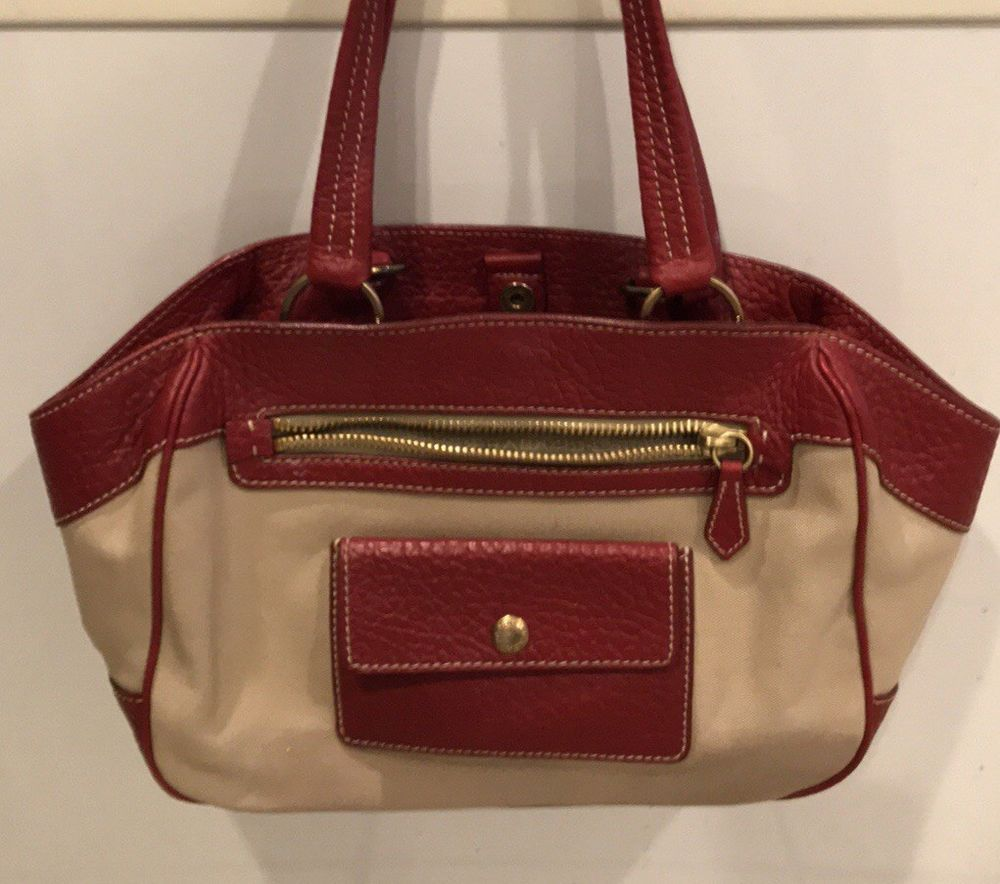 PRADA Canapa Tan Canvas Tote Satchel Bag Red Leather Trim Bag  fashion   clothing  shoes  accessories  womensbagshandbags (ebay link) 5d4504bd09a43