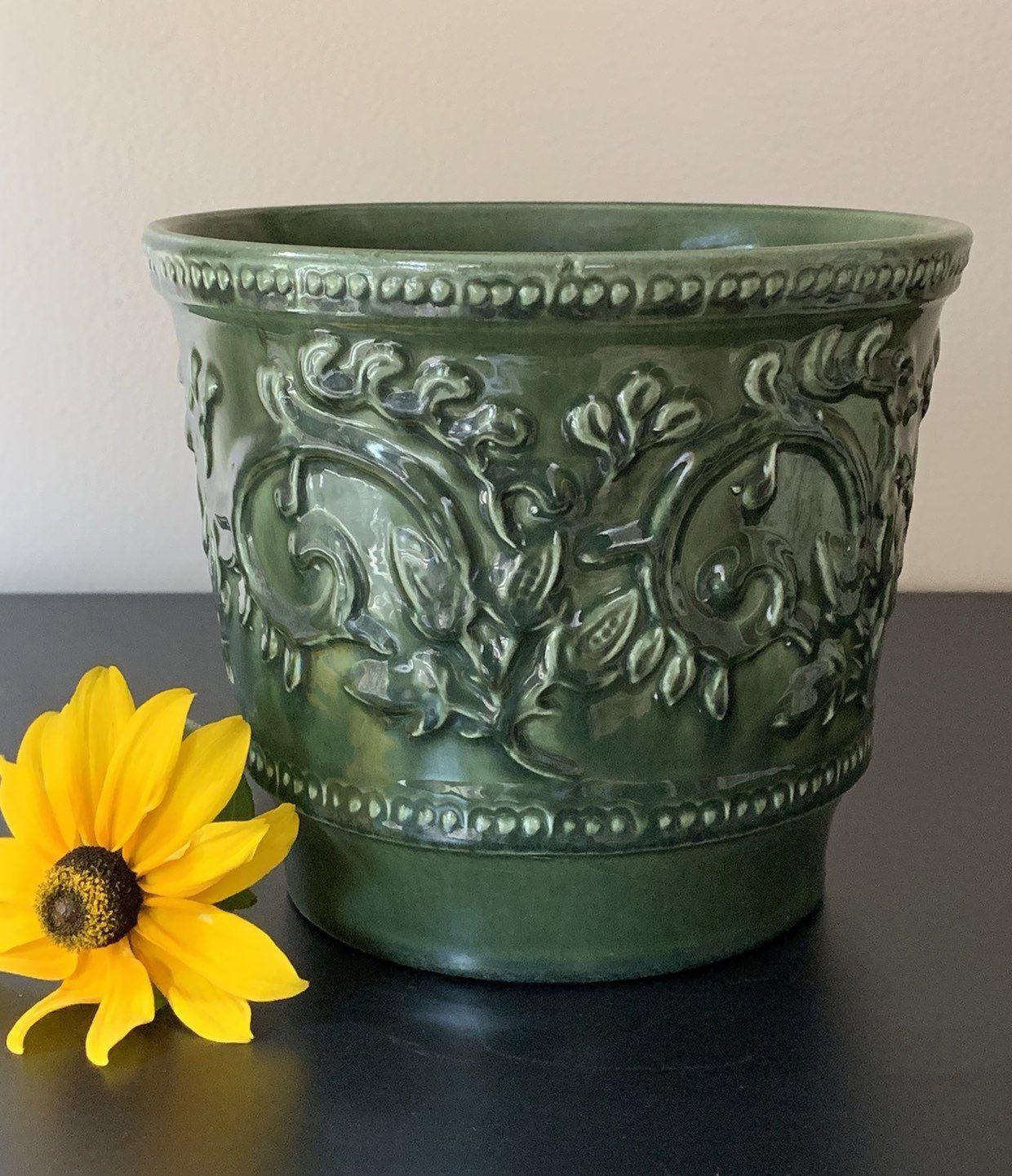 Large Vintage Green Floral Haeger Planter Pot Royal Haegar Green Flower Pots Pottery Planters Flower Pots