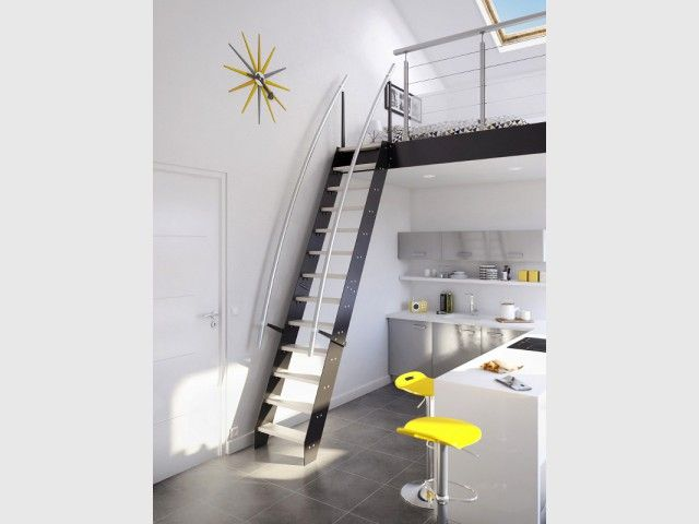 petits espaces un escalier gain de place pour mon int rieur escalier gain de place gain de. Black Bedroom Furniture Sets. Home Design Ideas