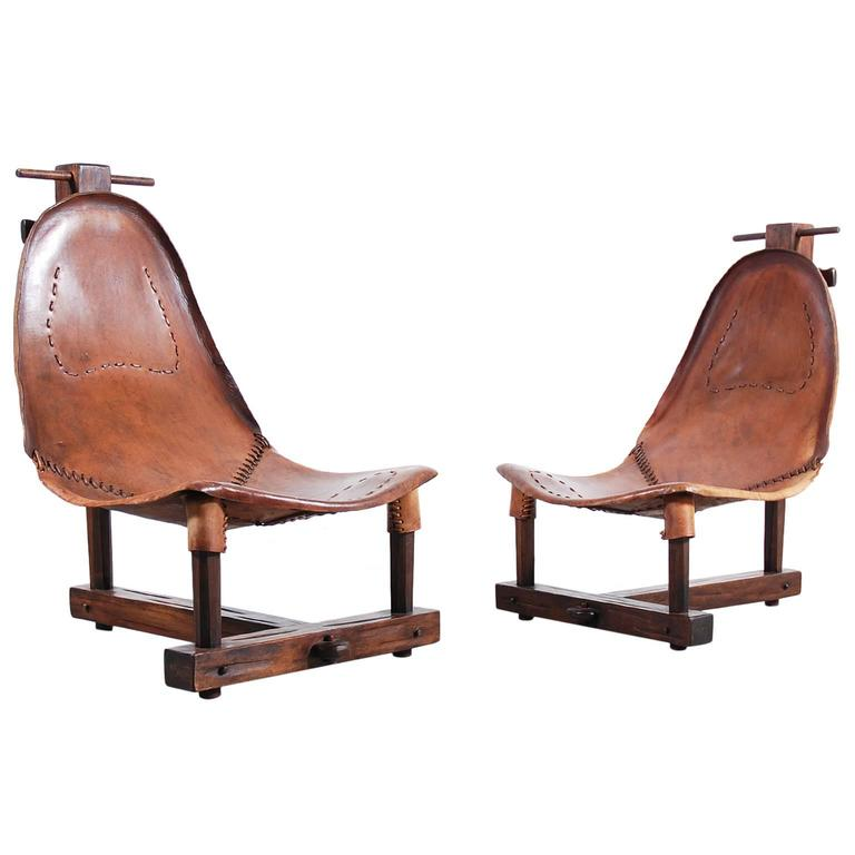 Unusual Pair Of Leather Armchairs From 1950 Leather Armchair Furniture Design Modern Armchair