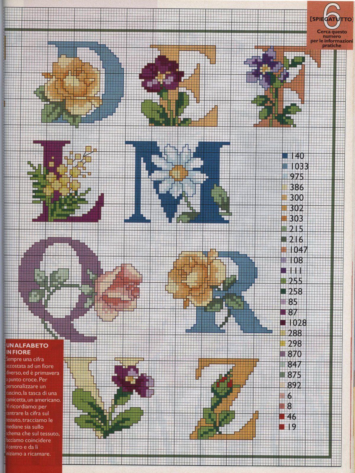 Alfabeto fiori 2 abs alfabeto de punto de cruz for Ricamo punto croce lettere