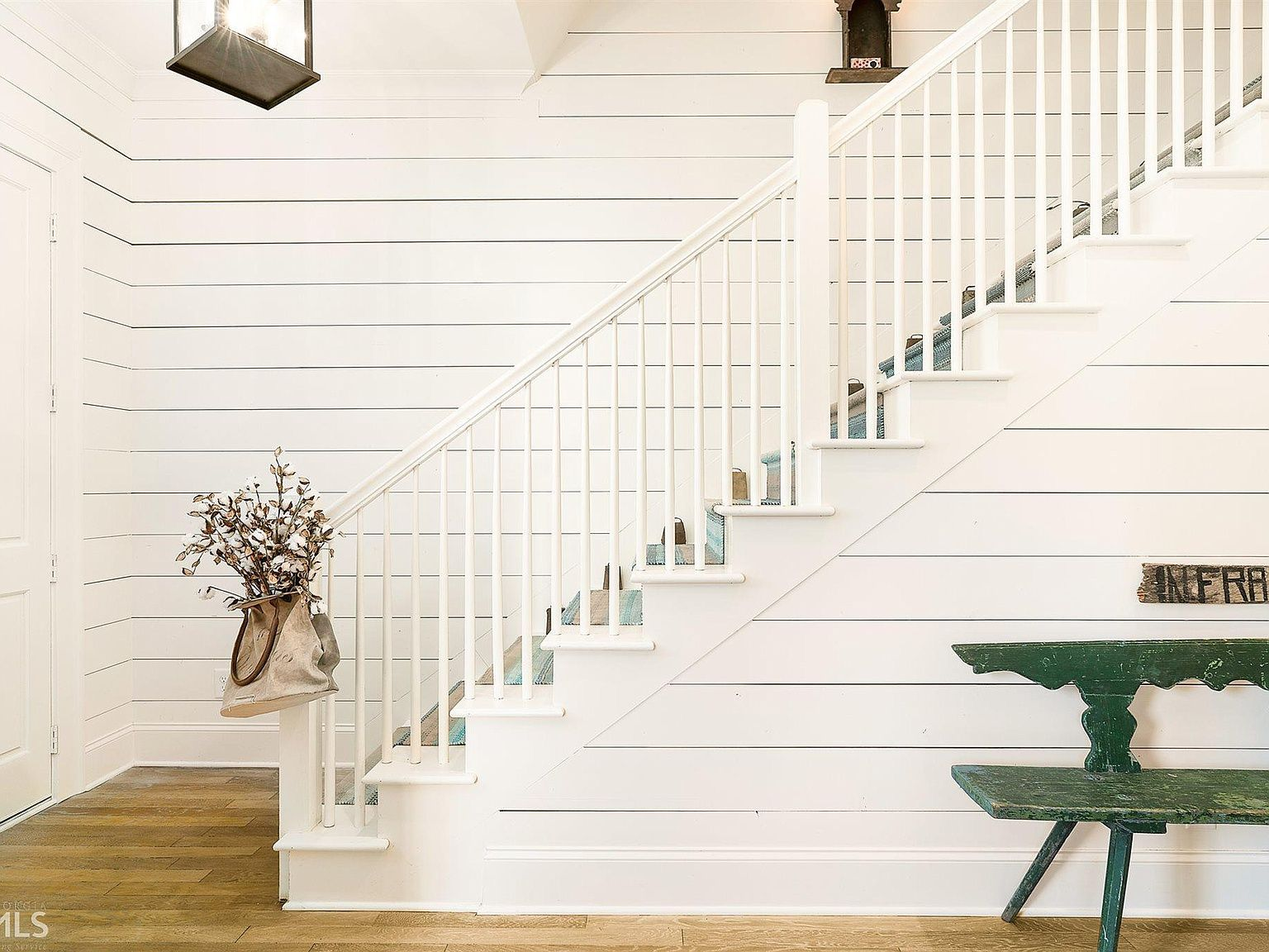 Entryway Ideas And Decor Simple Farmhouse Decor White Painted Entry Shiplap Wall Batten Board White Painted Stairs Stairs Painted White Farmhouse Stairs