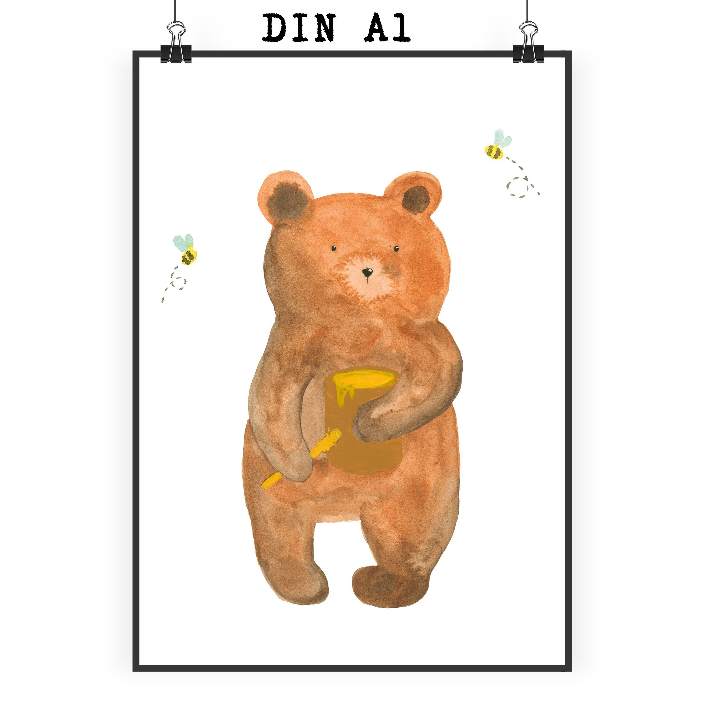 """Poster DIN A1 Honigbär aus Papier 160 Gramm  weiß - Das Original von Mr. & Mrs. Panda.  Jedes wunderschöne Poster aus dem Hause Mr. & Mrs. Panda ist mit Liebe handgezeichnet und entworfen. Wir liefern es sicher und schnell im Format DIN A2 zu dir nach Hause. Das Format ist 549 x 841 mm    Über unser Motiv Honigbär  Unser süßer Bär ist aus der """"Beary Times"""" - Kollektion.    Verwendete Materialien  Es handelt sich um sehr hochwertiges und edles Papier in der Stärke 160 Gramm    Über Mr. & Mrs…"""