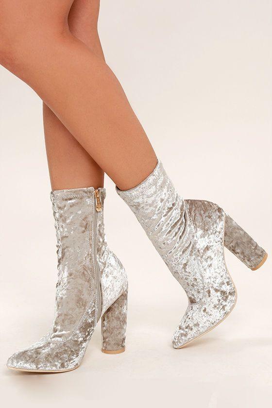67d002c9018 Marvel Grey Velvet Mid-Calf Boots | Fashion | Boots, Mid calf boots ...