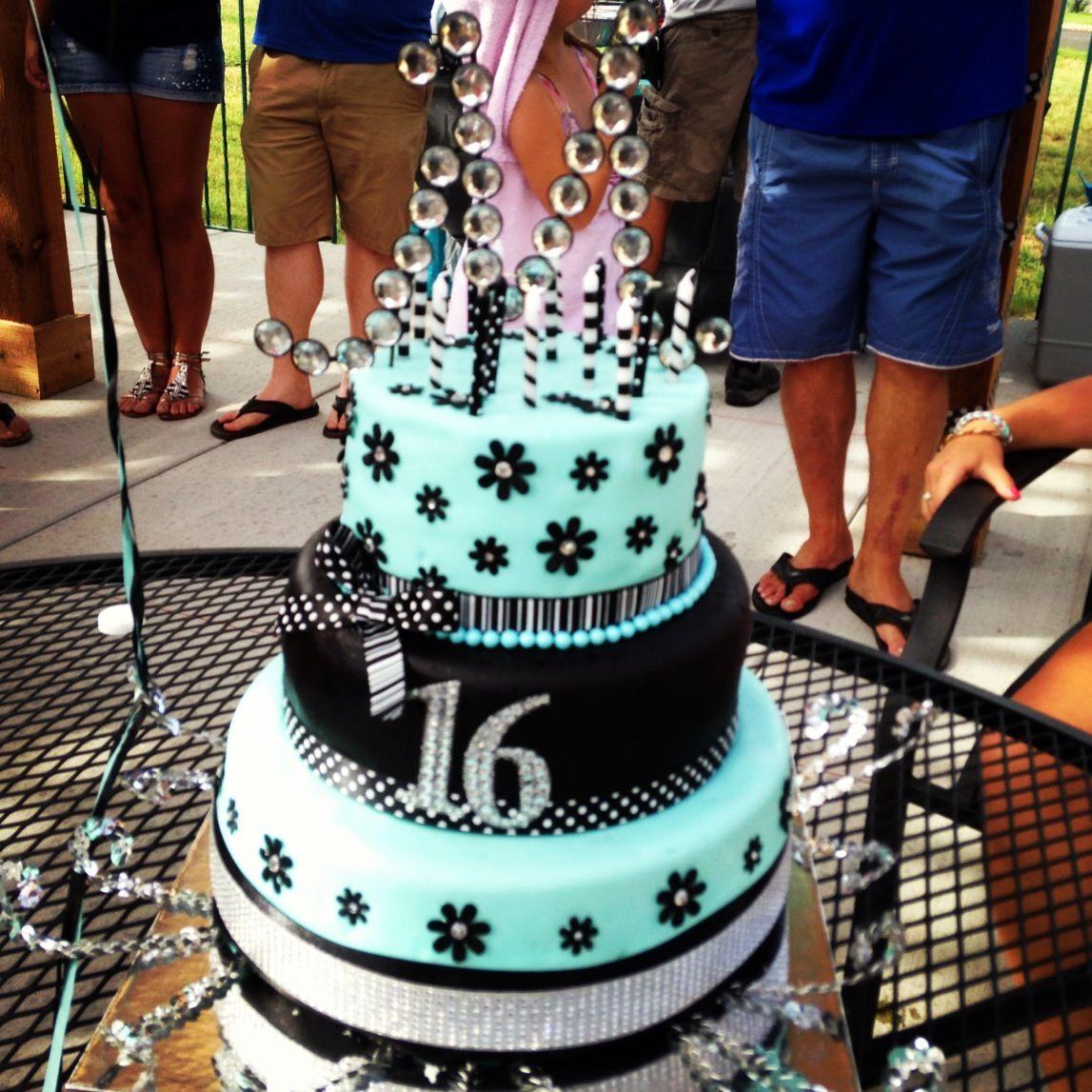 16th birthday cake Teal black and white Cake Pinterest 16th