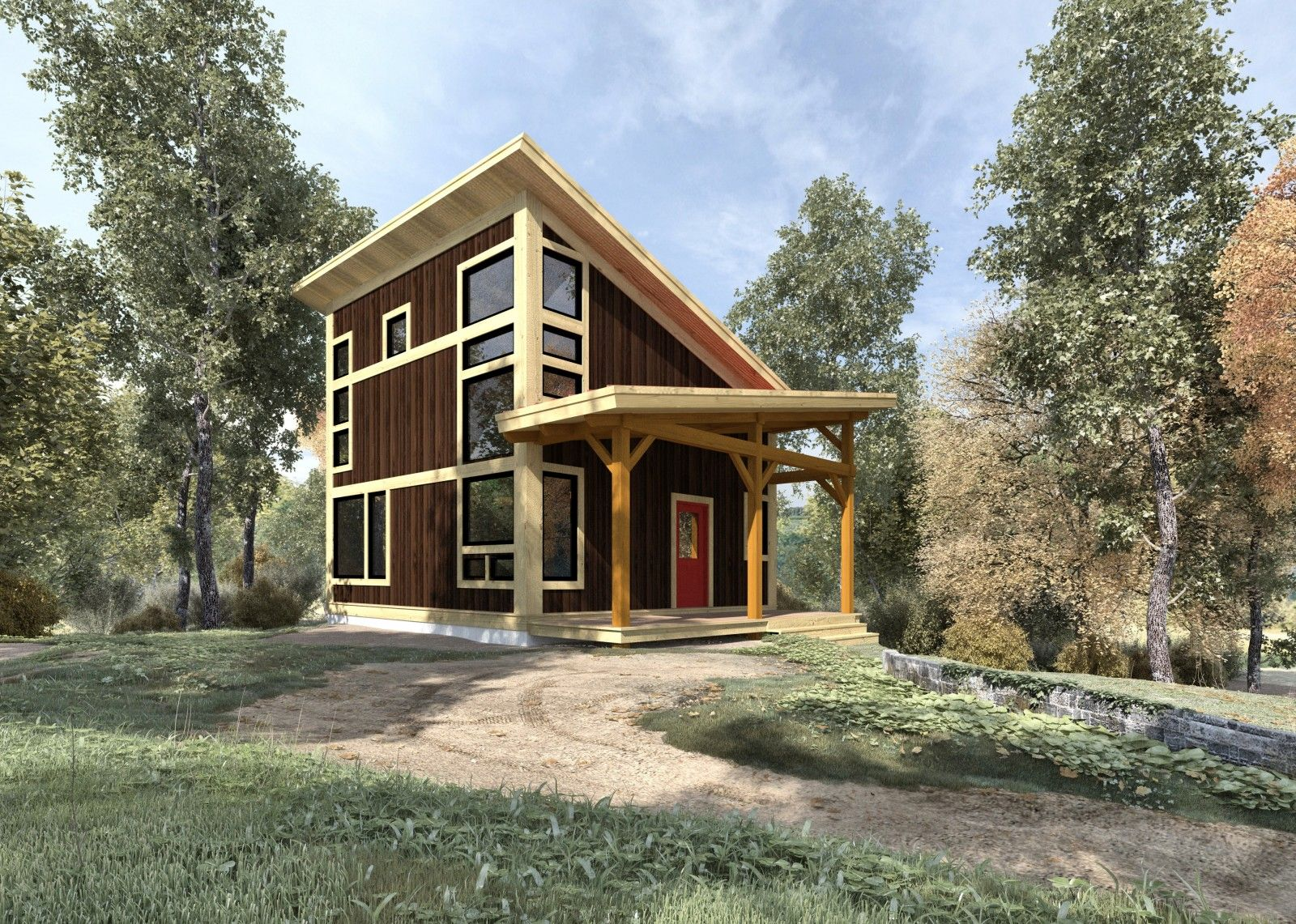 Brookside 844 sq ft from the cabin series of timber Post frame homes plans