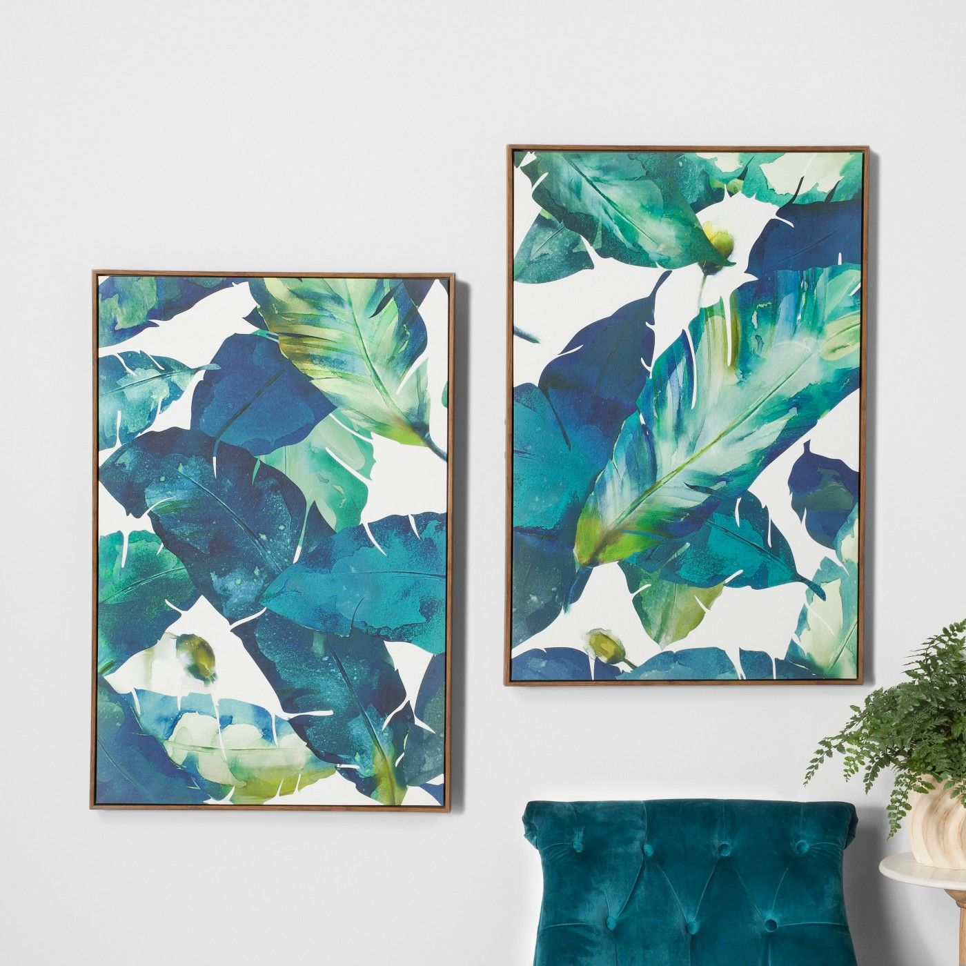 Tropical Palm 2Pk Framed Wall Canvas Blue 232X 352