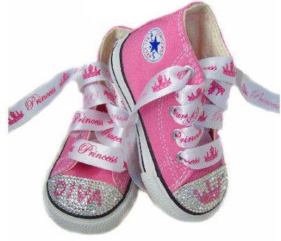 BlingCrystalPinkConverseDivaPrincessTiara | Little girl shoes ...