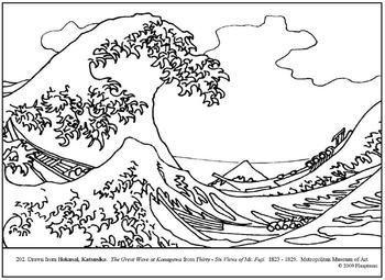 Hokusai Great Wave Coloring Page Tsunami Art Lessons Coloring