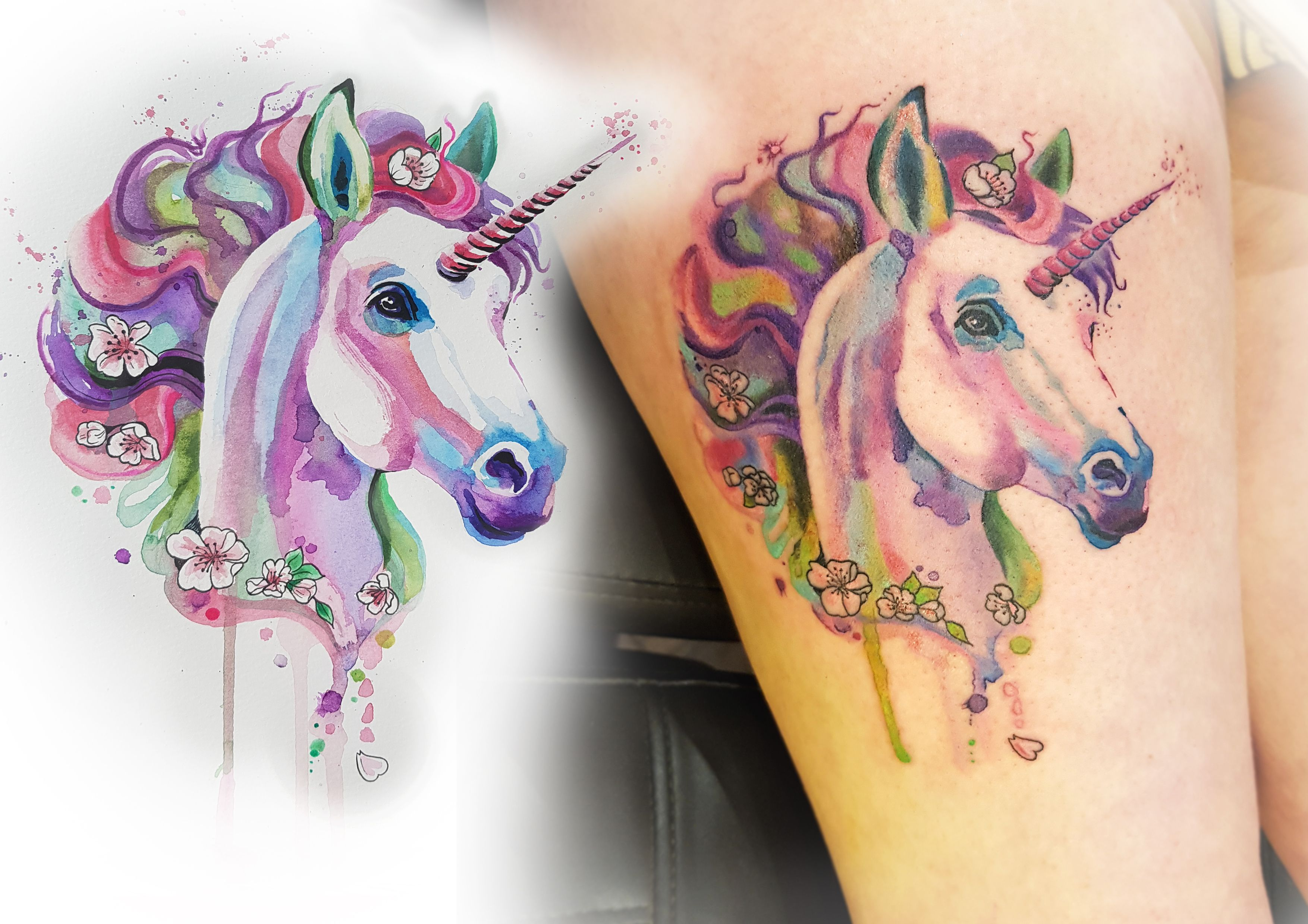 I Created This Watercolour Unicorn Tattoo From My Own Artwork