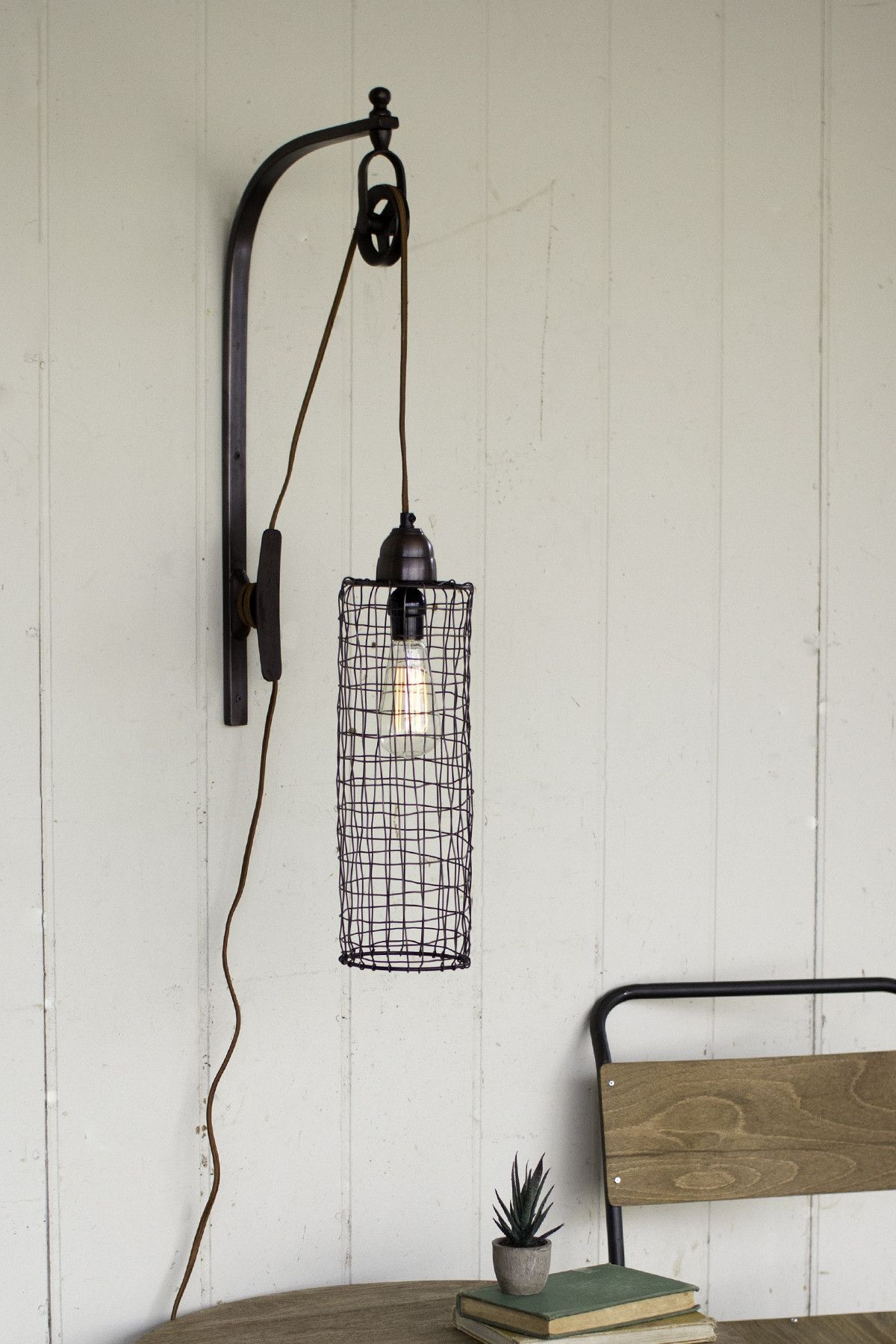 Wire Cylinder Pulley Wall Lamp   Lamps   Pinterest   Pulley, Walls ...