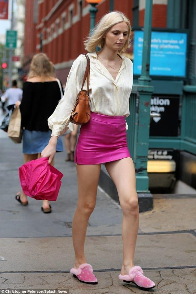 2041235fb015 Transgender model Andreja Pejic flaunts trim pins in mini skirt
