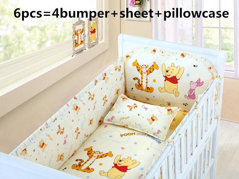 Disney mickey mouse 100/% Cotton Crib sheet baby bedding cot set 6pcs Nursery Boy