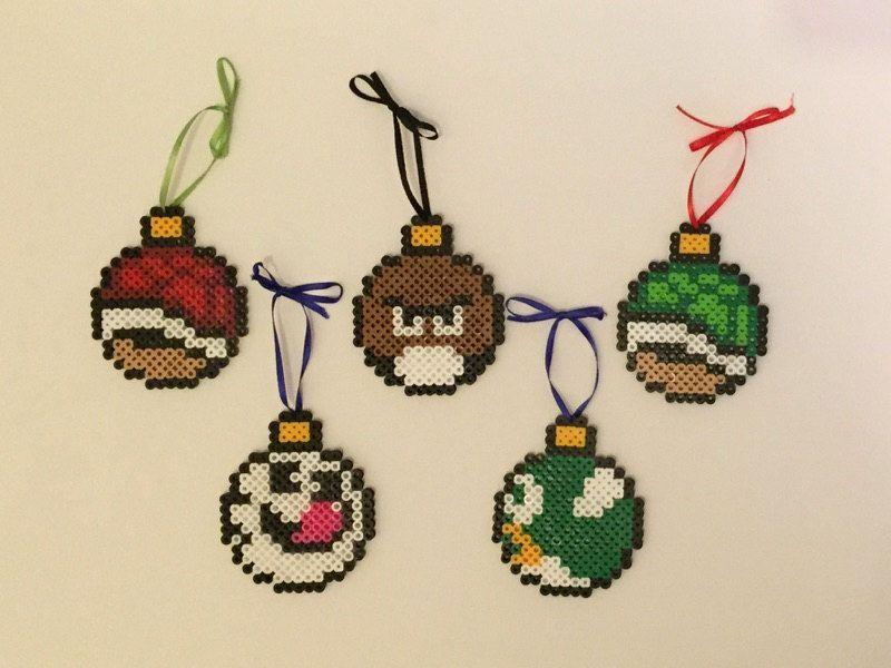 Super Mario Bros Enemy Perler Bead Christmas baubles by ThePixelizedPrincess