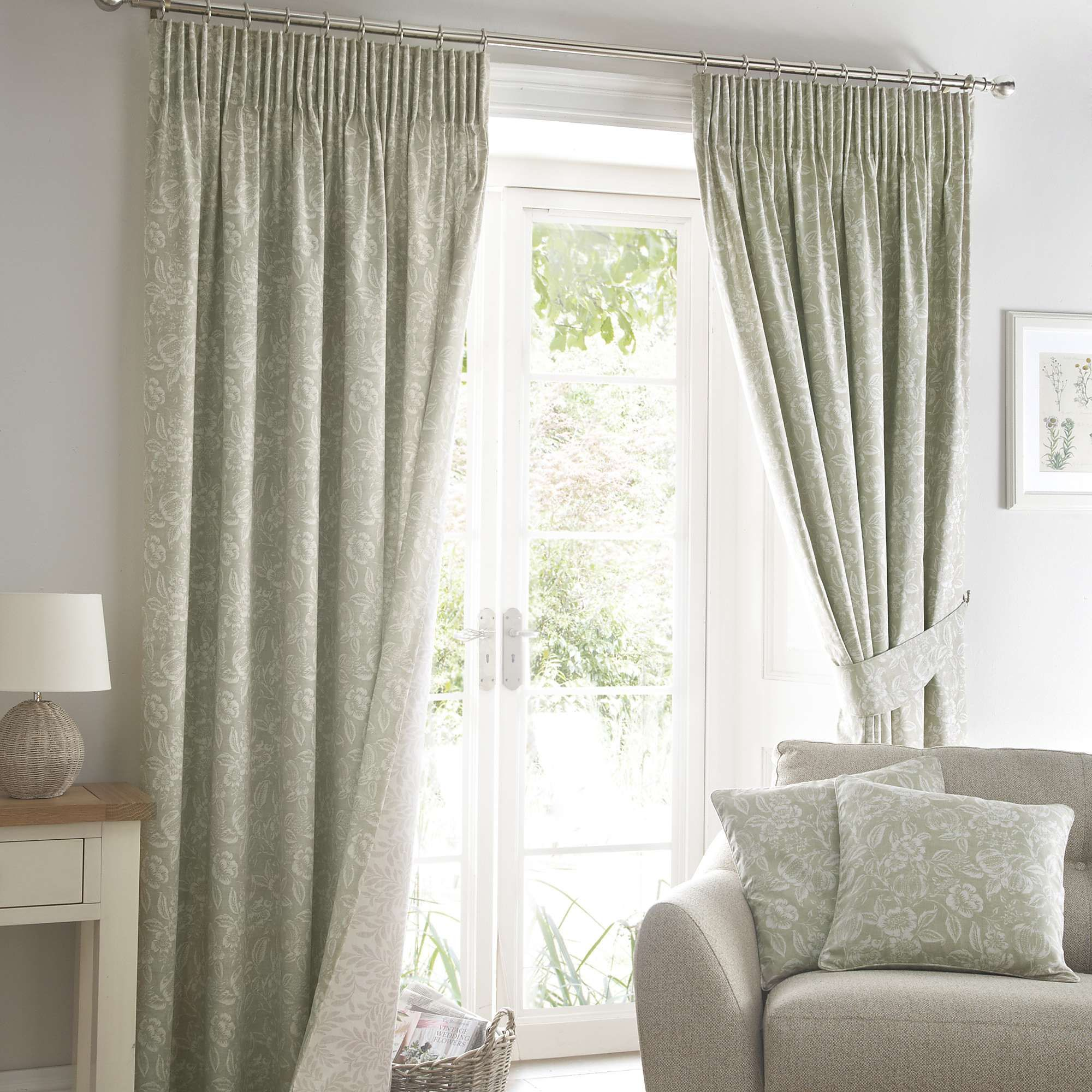 Room Ashcombe Sage Lined Pencil Pleat Curtains