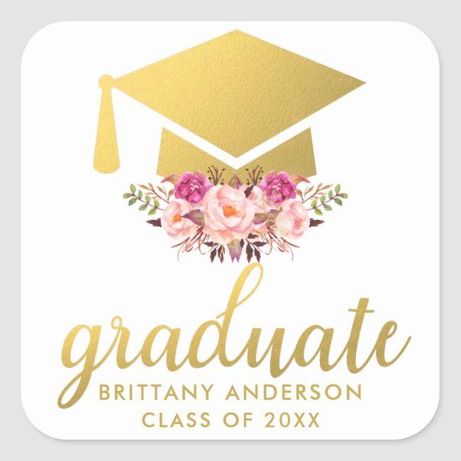 Photo of Graduate Gold Pink Watercolor Floral Square Sticker | Zazzle.com
