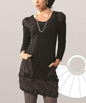 This Black Taffeta Pocket Dress by Dzhavael Couture is perfect! #zulilyfinds