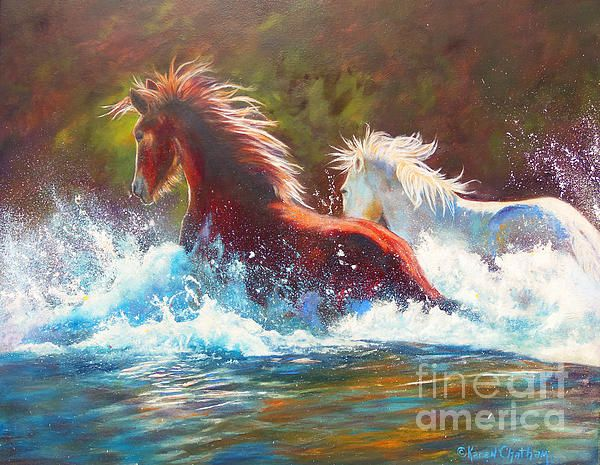 Wild horses of the Salt River Art by Karen Chatham, painted from a reference photo by Helmut Hussman