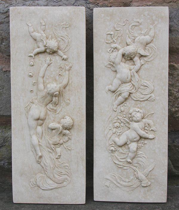 Pretty Cherubs   CHERUB WALL PLAQUES   Pair   Garden Wall Plaques Find  Cherub U0026 Angel