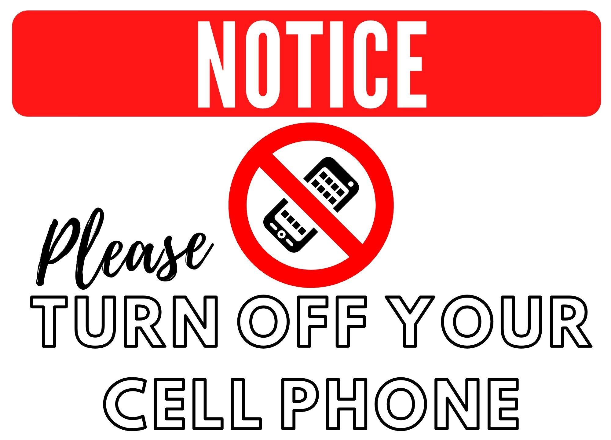 Free No Cell Phone Sign Printable Template Images No Cell Phone Sign Printable Signs Cell Phone Turn off cell phones sign