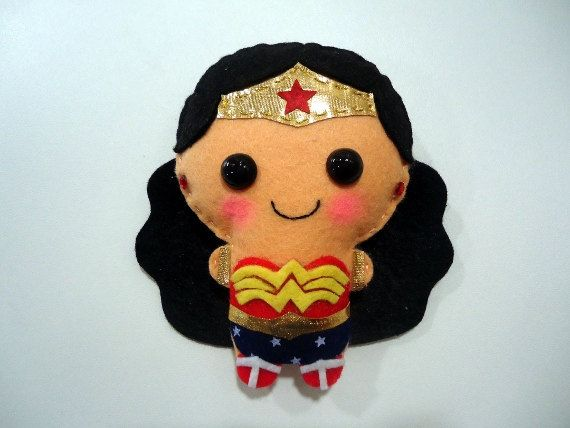Wonder Woman felt plush doll in a kawaii style  use by ChikuChikus, $9.90