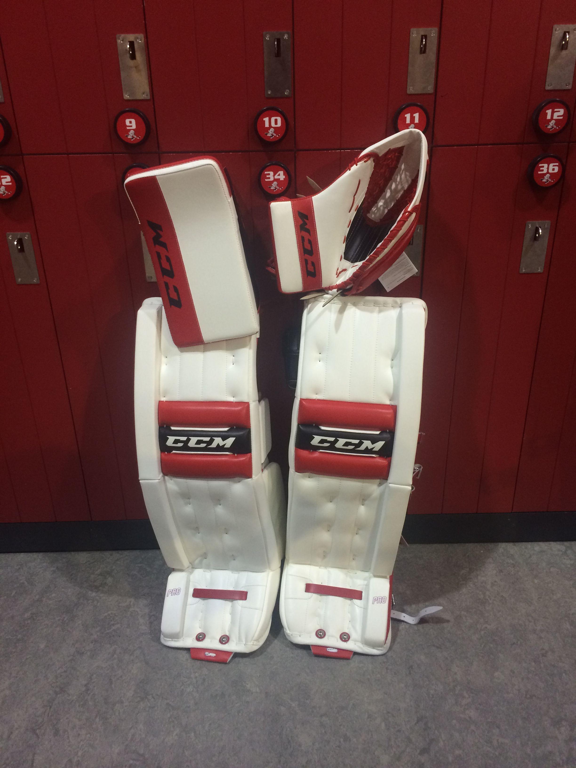41bdb2abfc8 CCM Retro Flex Pro custom goalie pads and gloves made for a customer. Custom  colors are White