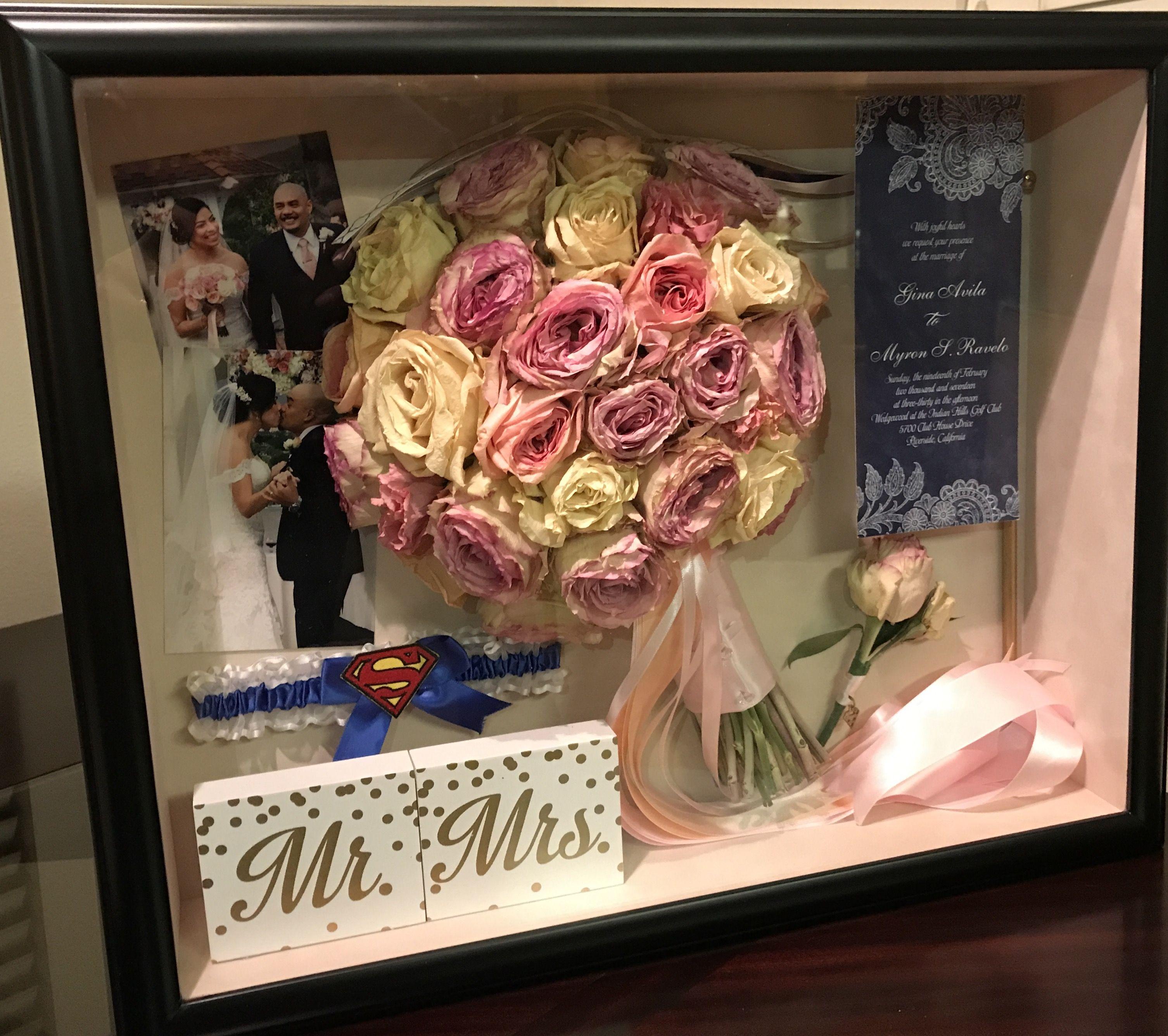 Custom wedding shadow box by Infinity Bouquets. Wedding