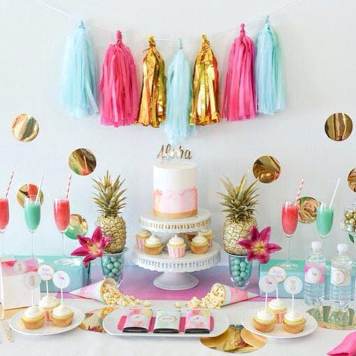 35938e87601 desserttablescape Loving this tropical aloha bridal shower.