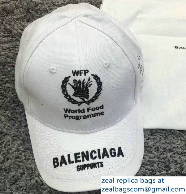 b22af27e34343 Balenciaga Supports World Food Programme Cap Baseball Hat White ...