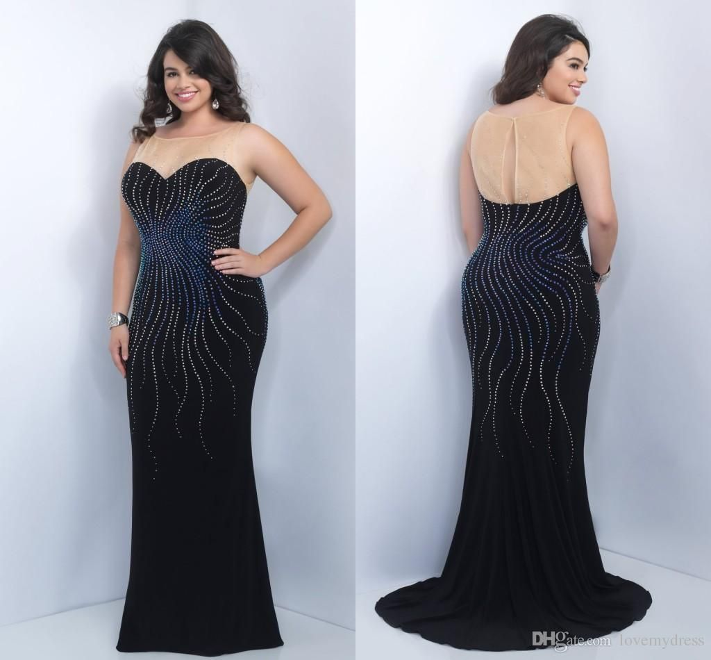 Beading Plus Size Formal Dress In Stock Scoop Neck Cheap ...