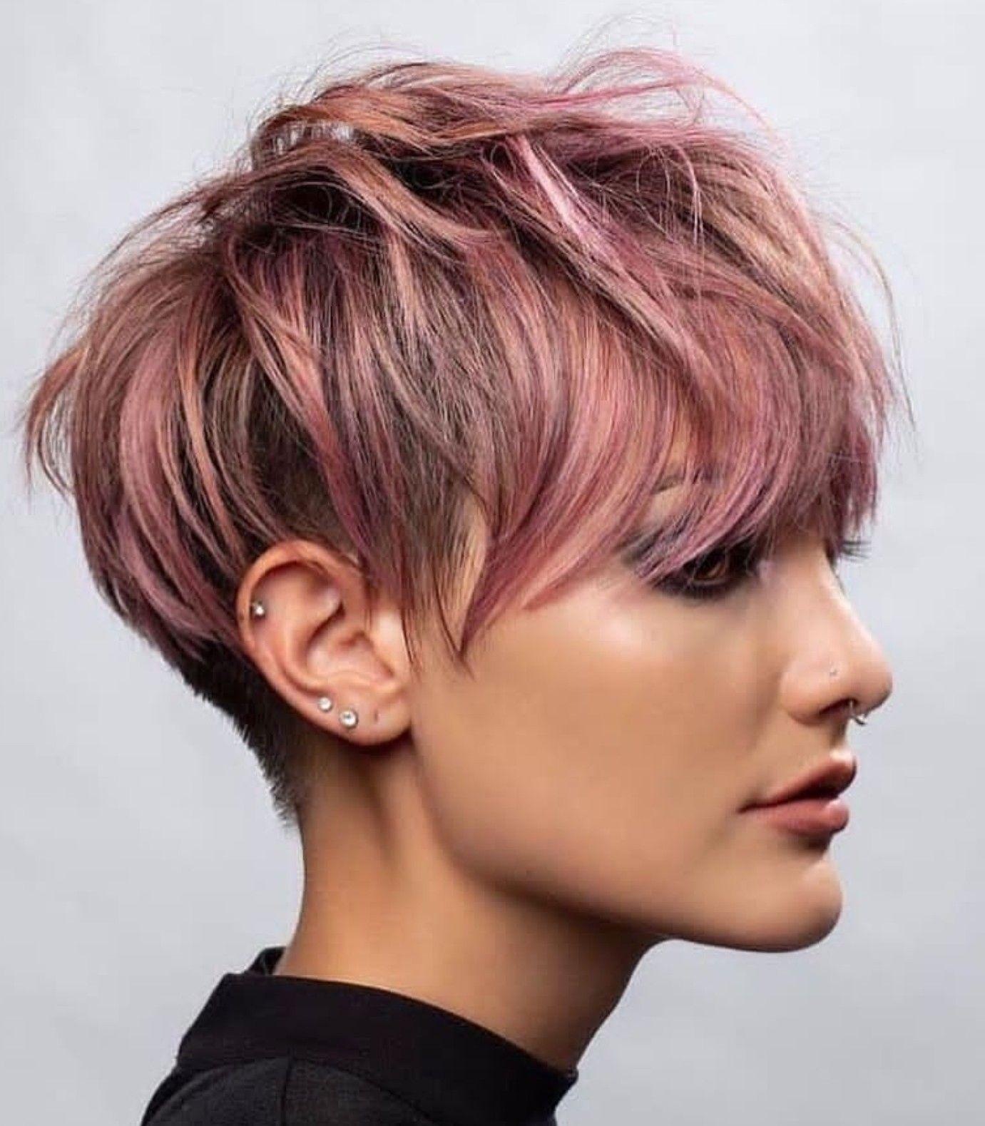 Pink Shirt Haircut Avedaibw Hair Styles Thick Hair Styles Pixie Haircut