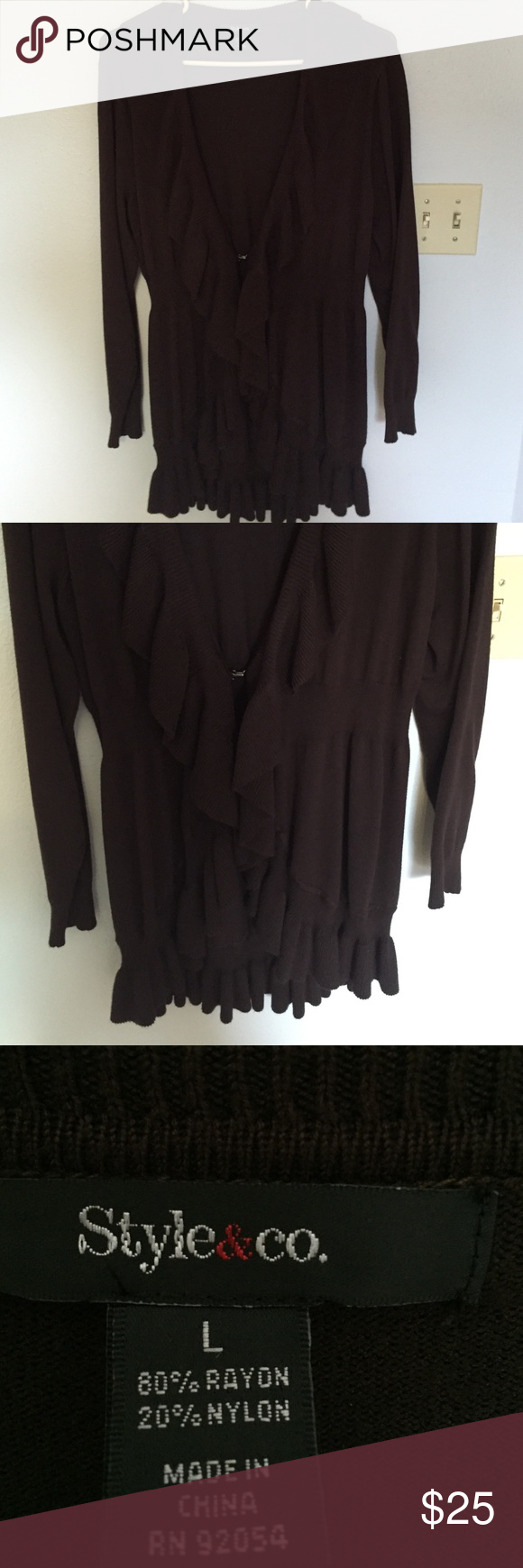 Brown lightweight cardigan Style & Co brown cardigan. Excellent ...