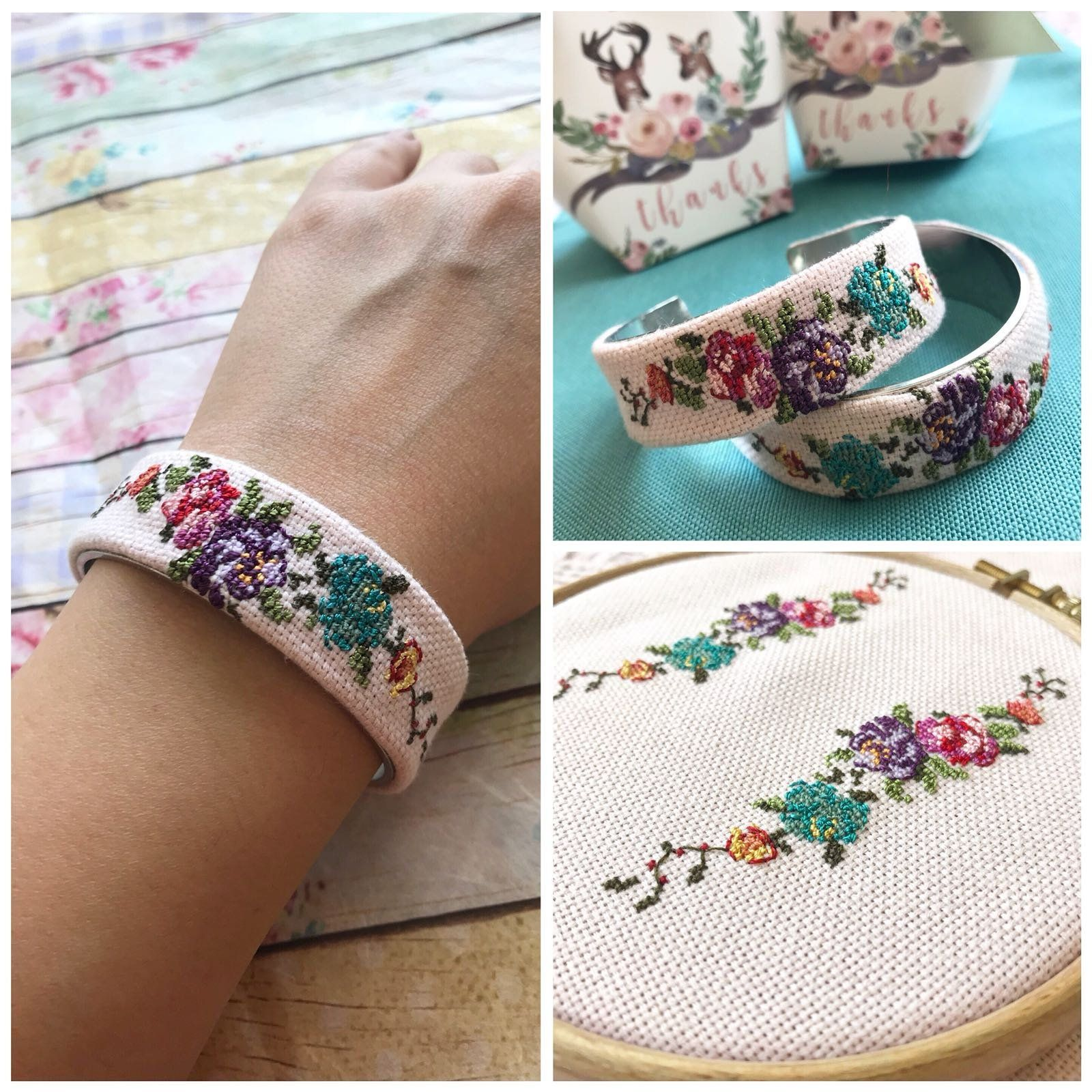 Custom Embroidered Cuff Bracelet Cross Sch Bohemian Style Bridesmaid Gifts Fl Bangle Vintage Embroidery Jewelry Bridal Gift By