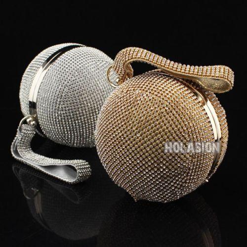 Luxury Womens Crystal Globe Clutch Rhinestones Ball Shaped Evening Bag Handbag