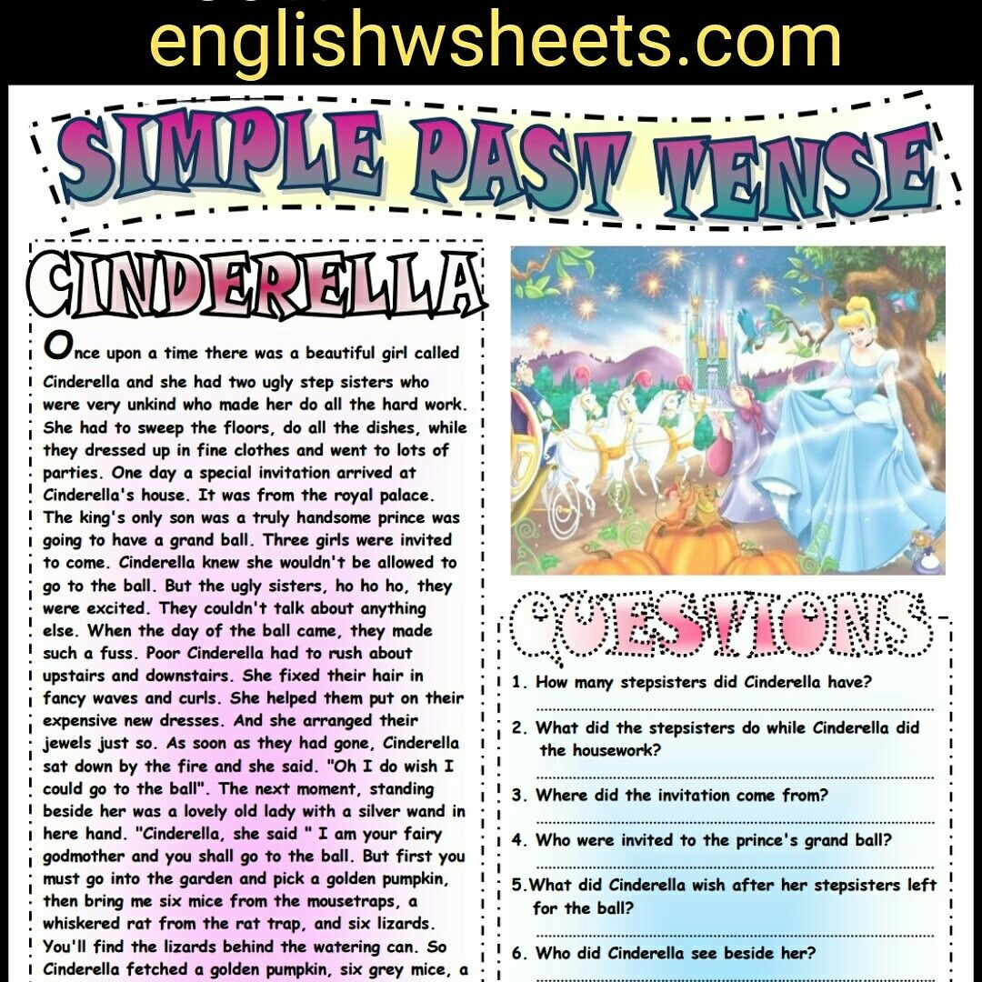 Cinderella Esl Printable Fairy Tale And Comprehension Questions Cinderella Fairytale Fairy