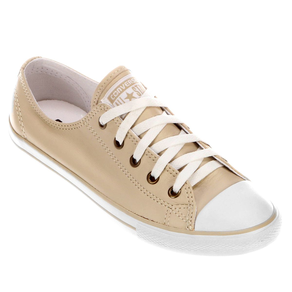 Tenis Converse All Star Ct As Dainty Leather Ox Bege Com
