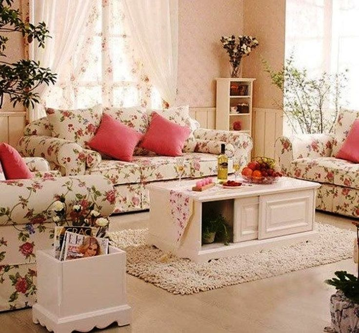 Superb Shabby Chic Cottage Decor   Soft, Pretty Living Room Is White On White With  Just The Pink As Accent Color. Real Plants Pull The Green From The Floral  ... Part 30