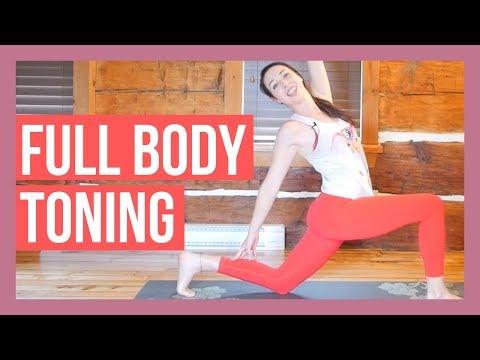 45 min intermediate vinyasa yoga  full body toning yoga