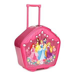 Disney Princess Rolling Luggage with Sound   Disney StoreDisney Princess Rolling Luggage with Sound - She'll forever carry her dreams in our Disney Princess luggage! This glittering overnight case is adorned by faceted gems, and has ample room for all her royal travel essentials. Press the secret button on front to hear magic chimes.