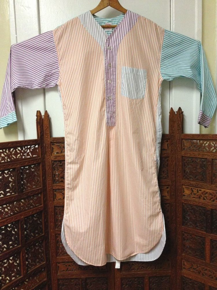 Vintage Rare Brooks Brothers Striped Multi Colored Long Sleeve Nightshirt S  USA Cotton  BrooksBrothers  Nightshirt 276a1ab00
