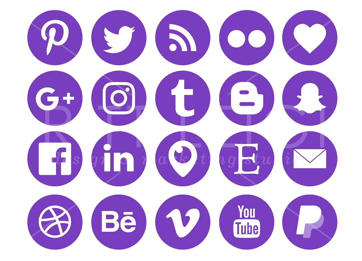 Purple Social Media Icons Pack backgroundsOptimized