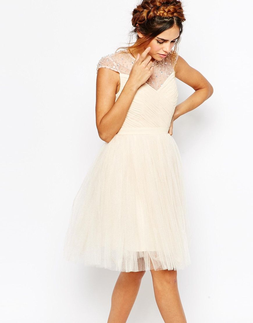 2b03cd449d2 Image 1 of Little Mistress Ruched Bodice Skater Dress With Pleated Tulle  Skirt
