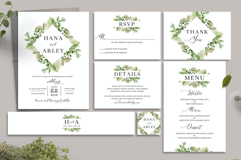 Leaves Wedding Invitation Template Psd Wedding Invitations Leaves Printing Wedding Invitations Wedding Invitation Card Template