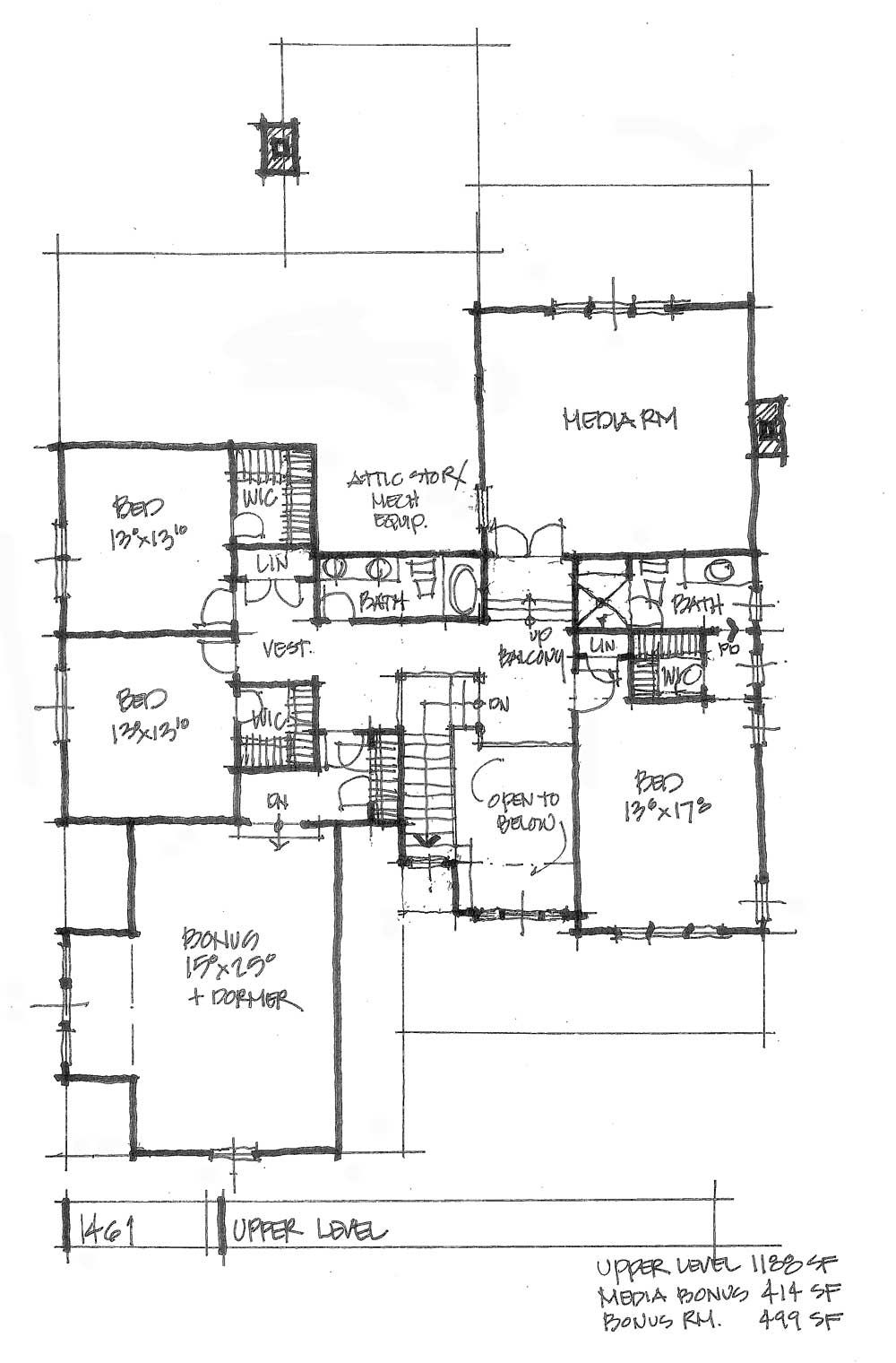 Conceptual House Plan 1461 Second Floor Media Space House Plans House Floor Plans Craftsman Floor Plans