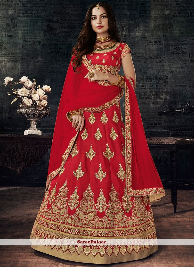 b1de702a10f0 Majesty Art Silk Red Lehenga Choli