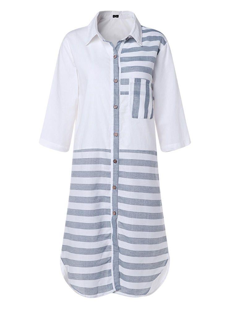 ec6ad98ff287 Women Casual Striped Patchwork Buttons Loose Baggy Long Shirt Maxi Dress