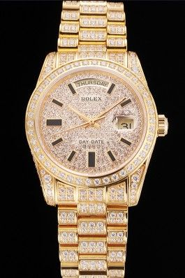 Swiss Rolex Replica Day Date Yellow Gold Full Diamond Pave